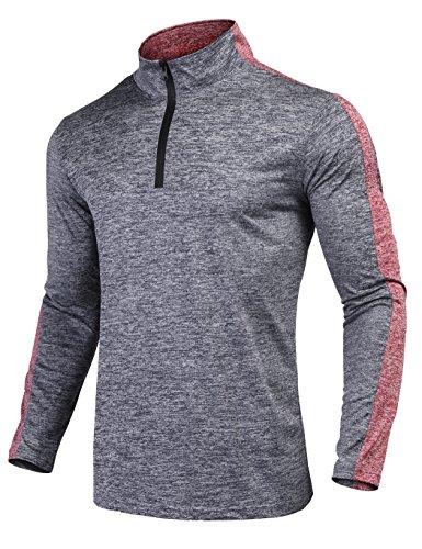 JINIDU Mens Quarter Zip Athletic Cycling Jersey Fit Long Sleeve Pullover Shirt Navy Blue