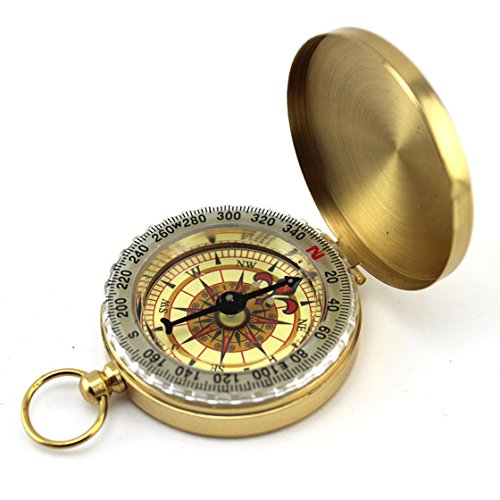 MOSE Hiking Camping Watch Compass, Pocket Brass Watch Style Outdoor Camping Navigation Compass Ring Keychain Cover With Luminous Pocket Watch New Style (Gold) (Luminous Key Ring Compass)