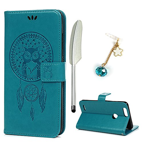 ZTE Blade Z Max Case, ZTE Sequoia Case, ZMax Pro 2 Case, Wallet PU Leather Kickstand Emboss Owl Magnetic Book Built-in Stand Card Slots Holder Protective Cover with Detachable Wrist Strap by REACHOPE - Kickstand Wrap Case