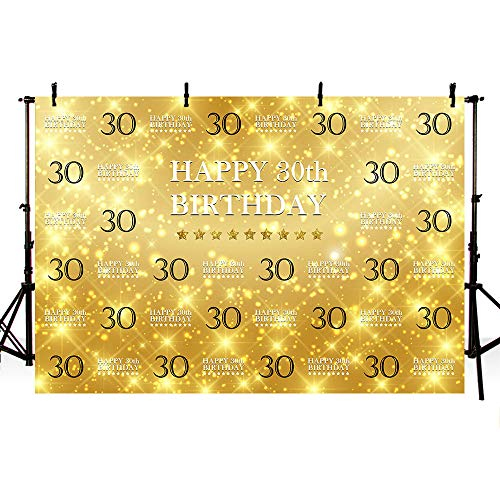 (MEHOFOTO Glitter Gold Photo Studio Booth Background Banner Gold Stars Step and Repeat 30th Happy Birthday Bash Party Banner Backdrops for Photography 8x6ft)