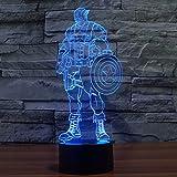 NIEBC Captain America 3D 7-Color Gradual Changing LED Touch Switch Visualization Illusion Atmosphere Light Desklamp Nightlight
