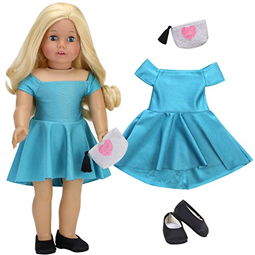 Sophia's Doll Clothes 18 Inch Doll Dress   Teal Green Holiday Doll Dress, Sparkling Heart Purse and Black Doll Shoes, Perfect for American Dolls & More! (18 Inch Doll Green Clothes)