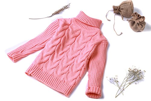 Girls Cashmere Cable (MIQI MIQI Girls Cashmere Sweater Anti-Pill Pullover Pure Pink 3 Years Old)