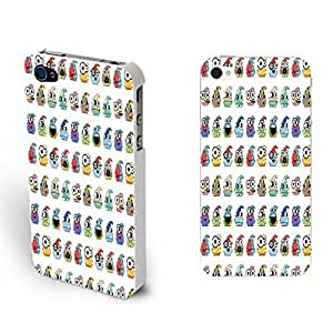 Iphone 4 4s Custom Case - Cute Animals Pattern Print Hard Plastic Mobile Phone Accessory Back Protective Case Cover Skin (smurfs BY506)