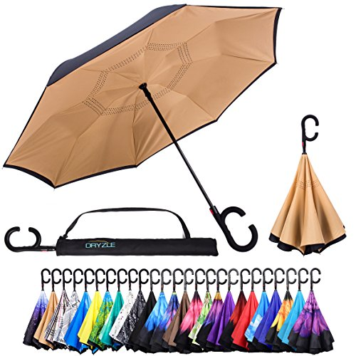 Reverse Inverted Inside Out Umbrella - Upside Down UV Sun Protection Windproof Brella That Open Better Than Most Umbrellas, Reversible Folding Double Layer, Suitable for Golf, Car, Women and Men (Gold Manual Wind)