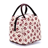 Women Reusable Small Lunch Picnic Bag Waterproof Snacks Grocery Tote Handbag for Teens Kids - Foot Print