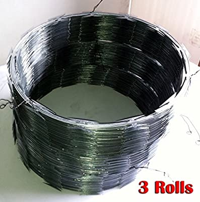 "Razor Wire Razor Ribbon Barbed Wire 18"" 3 Coils 50 Feet Per Roll"