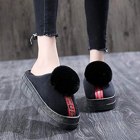 AMFHY Zapatillas de casa para Mujer Plataforma Diapositivas de ...