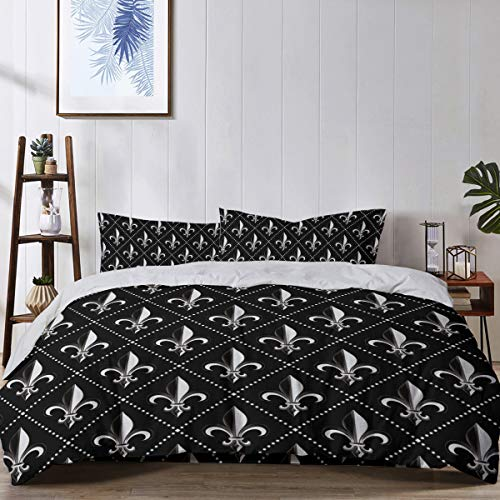 - King Bedding Duvet Cover Set, 4 Piece - Luxury Microfiber Comforter Quilt Cover with Zipper Closure and 2 Pillow Shams, Fleur De Lis Iris Damask Pattern with Vintage Geometric Diamond Lines Black