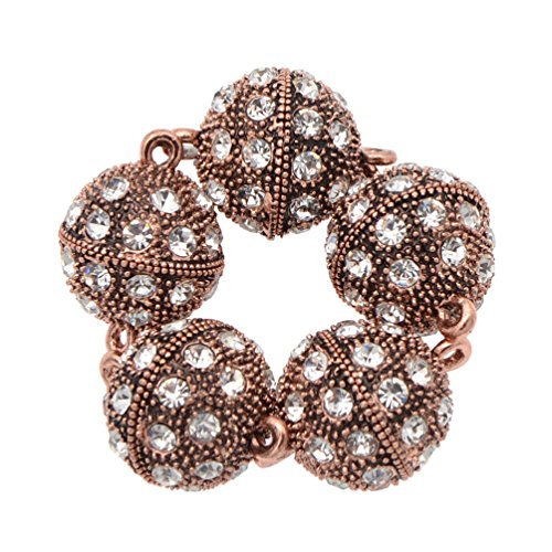 BetterUS 5Pcs Rhinestone Round Ball Magnetic Clasps Crystal Pave Ball Magnetic Beads Clasp For Bracelet Necklace Jewelry (Clasp Ball Pave)