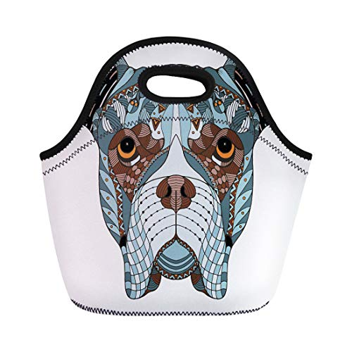 Boxers Indian (Semtomn Lunch Tote Bag Boxer Dog Head Zentangle Freehand Pencil Pattern Zen Ornate Reusable Neoprene Insulated Thermal Outdoor Picnic Lunchbox for Men Women)