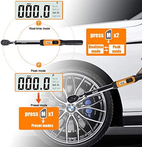 ZYL-YL 1//2inch 10-200Nm Digital Torque Wrench Adjustable Professional Electronic Torque Wrench Bike Car Repair with 2Pcs Adapter Household Tool Sets