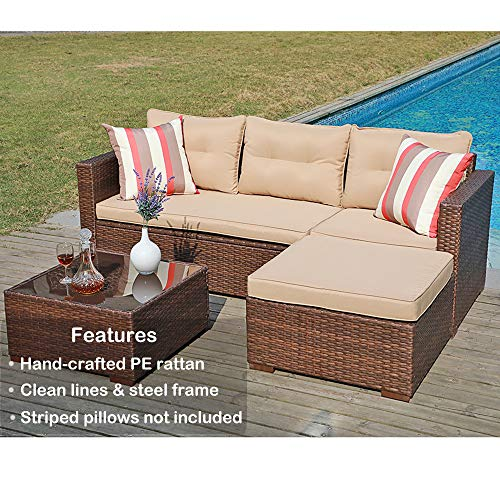 SUNSITT Outdoor Sectional Sofa 4 Piece Furniture Set Brown Wicker with Beige Seat Cushions, Ottoman Glass Coffee Table, Patio Backyard Pool, Steel Frame