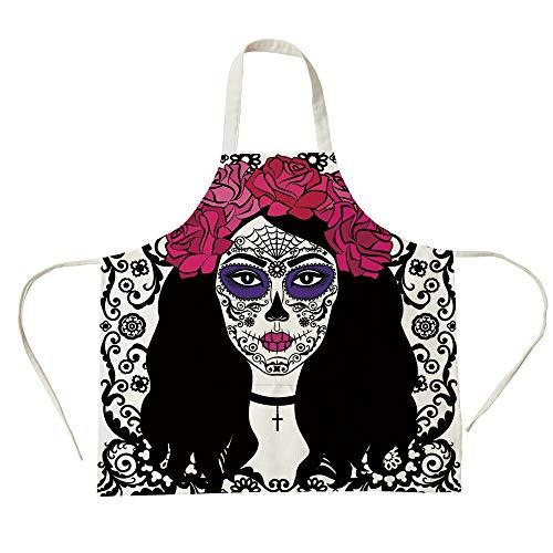 3D Printed Cotton Linen Big Pocket Apron,Sugar Skull Decor,Girl with Sugar Skull Make Up Dia De Los Muertos Traditional Art Decorative,Black White Pink,for Cooking Baking Gardening