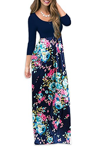 Wholesale Leapparel Women 3/4 Sleeves Floral Maxi Dress Round Neck Floor-length Casual Long Dress With Pockets
