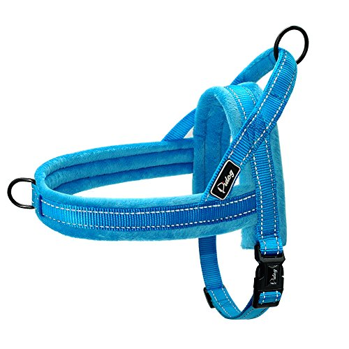 Didog Soft Flannel Padded Dog Vest Harness, Escape Proof/Quick Fit Reflective Dog Strap Harness,Easy for Training Walking,Blue XS Size (Flannel Soft Pull)