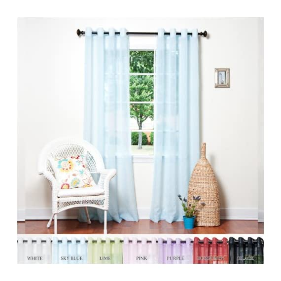 "Best Home Fashion Crushed Voile Sheer Curtains - Antique Bronze Grommet Top - Sky Blue - 52""W x 84""L - (Set of 2 Panels) - Decorate every window with style and sophistication. Allows natural light to flow through the room Have pocket insert that create a clean, tailored look on a decorative rod. - living-room-soft-furnishings, living-room, draperies-curtains-shades - 51i  xu1FJL. SS570  -"
