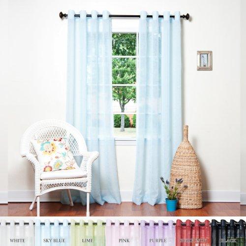 "51i  xu1FJL - Best Home Fashion Crushed Voile Sheer Curtains - Antique Bronze Grommet Top - Sky Blue - 52""W x 84""L - (Set of 2 Panels)"