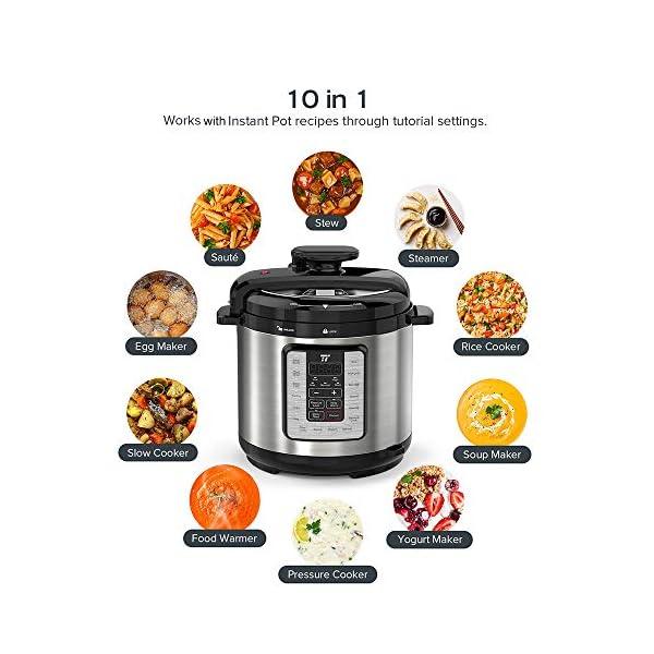 TaoTronics TT-EE007 Electric Pressure Cookbook 8QT, 10-in-1 Multi-Use, 16 Programs, Slow, Rice Cooker, Steamer, Sauté… 2