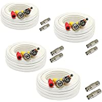 GW Security 4 Pack 200 Feet Video Power Pre-Made All-in-One BNC Cable CCTV Camera Wire Cord with Extension BNC Female Connectors for HD 1080p / 720p / 960H Camera and DVR