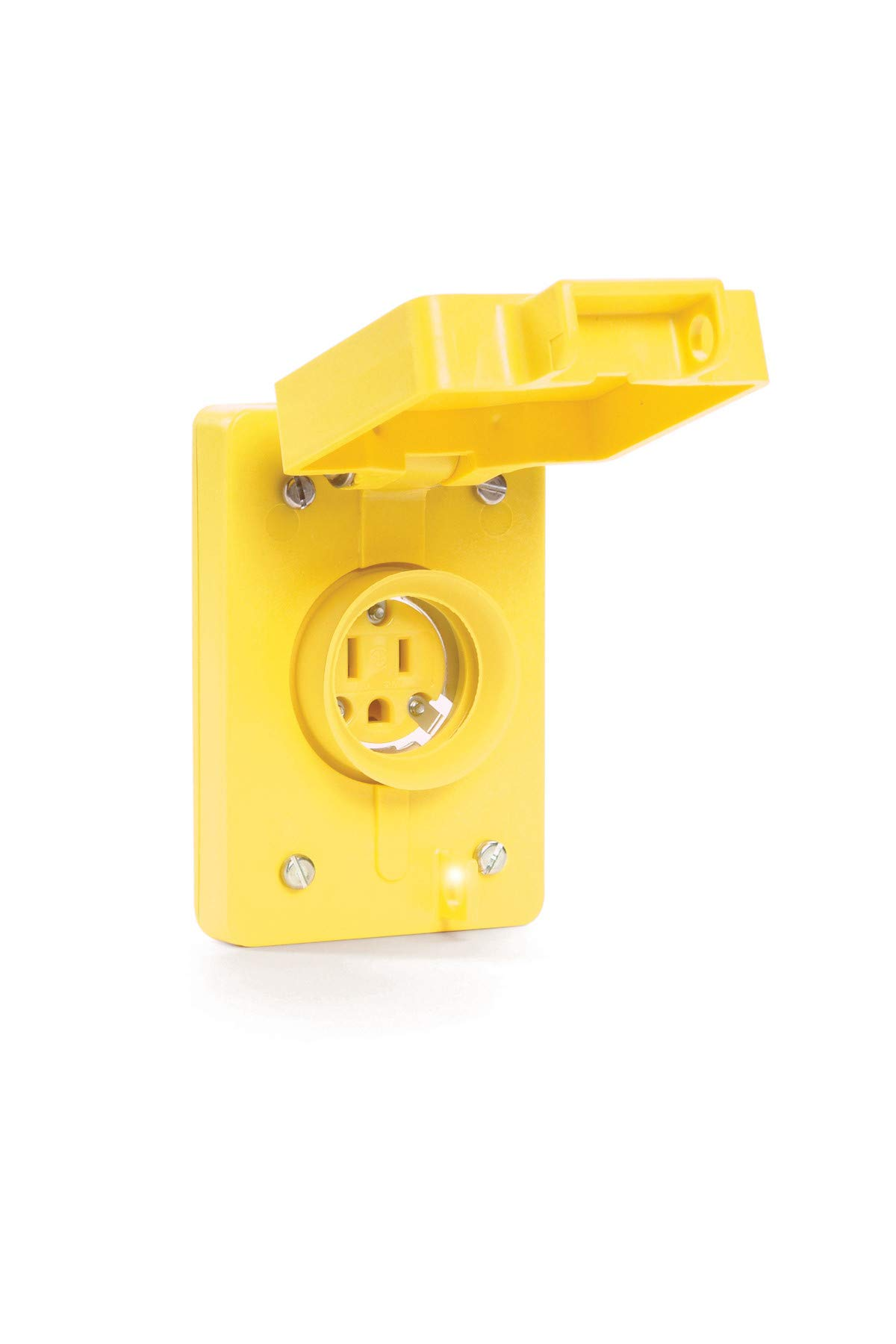 Woodhead 60W47 Watertite Wet Location Straight Blade Receptacle, Female, Single Flip Lid, 3 Wires, 2 Poles, NEMA 5-15 Configuration, Yellow, 15A Current, 125V Voltage, 3ft Cord Length