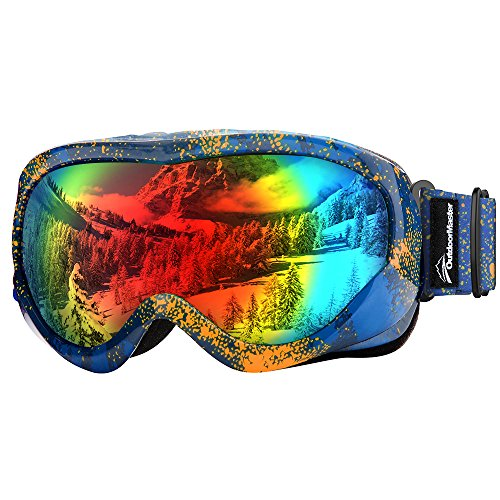 OutdoorMaster Kids Ski Goggles - Helmet Compatible Snow Goggles for Boys & Girls with 100% UV Protection (Orange Pattern Frame + VLT 14% Colourful - Orange Goggles