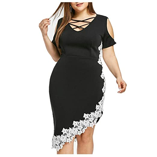 4a5f3fbc82 JJLIKER Women Summer Cold Shoulder Plus Size Lace Floral Cross ...