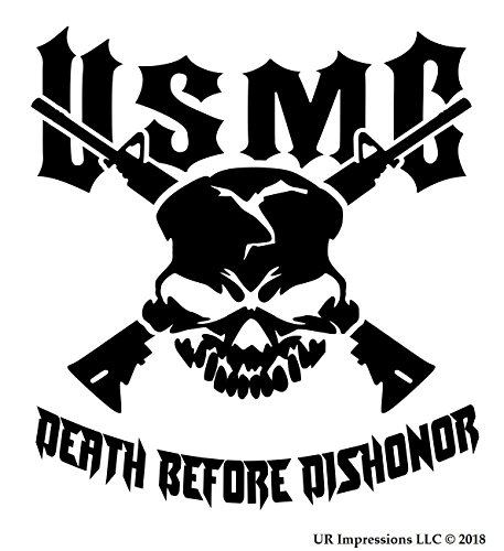 UR Impressions Blk USMC Death Before Dishonor Skull