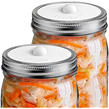 Fermilid - Waterless Fermentation and Pickling Airlock Lids For Wide Mouth Mason Jars (4 Pack) - White