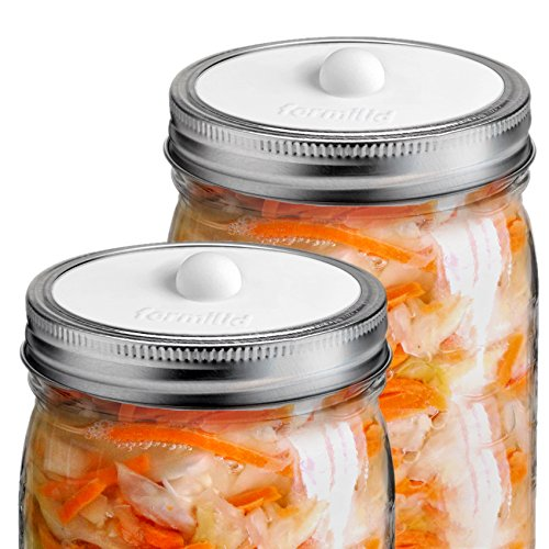 Fermilid - Fermentation Lids for Wide Mouth Mason Jars. Waterless Airlocks for Vegetable Fermenting and Pickling, Sauerkraut, Kimchi, Pickles and more (4 Lid Pack) - White