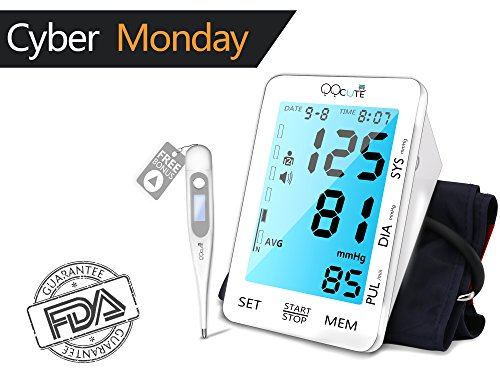 QQCute Accurate Blood Pressure Monitor with Cuff Fits Standard (Large Image)