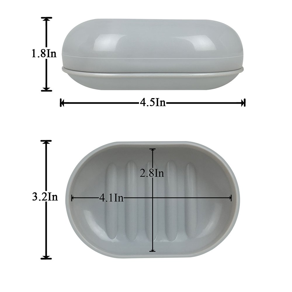 Y&R Direct Travel Soap Dish Soap Case Holder for Shower, Bathroom,Sink, Keep Soap Dry and Clean, Grey, Apricot,2 Pack