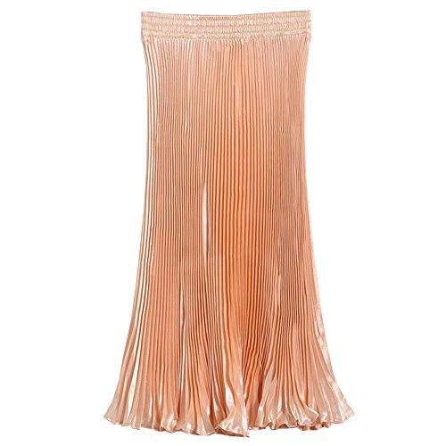 Elastique Longue Robes Orange BOZEVON Soie en Mousseline Jupe Femmes Pliss Taille de xSRq1wfI