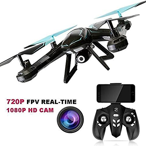 GordVE GV-AG01 RC Drone Cair Wifi FPV Quadcopter Drone 2MP 2.4GHz 6 Axis Remote Control Drone with HD Live Video/Headless Mode/One Key Return/Altitude Hold /360° 3D Flips & - Performance Brushless System