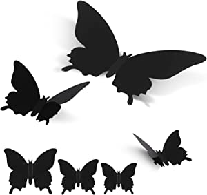 Butterfly Wall Decor - funvce 24PCS Black 3D Butterflies Decals Wall Stickers 3 Sizes Removable Mural Room Decoration for Kids Living Room Bedroom Aesthetic DIY Art Crafts