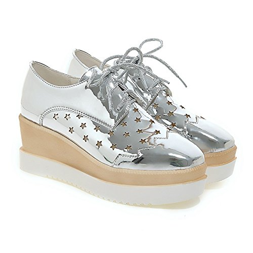 Up Lucksender Womens Platform Shoes Oxford Sliver Hollow Out Lace 6z6qRwv
