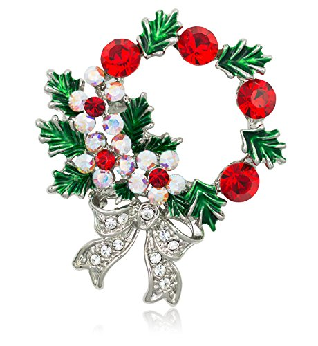 Akianna-Silver-tone-Swarovski-Element-Crystals-Christmas-Wreath-Pin-Brooch