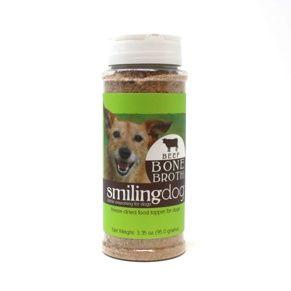 Herbsmith Bone Broth Kibble Seasoning - Freeze Dried Meat + Bone Broth Powder for Dogs - Healthy Dog Food Toppers - Beef by Herbsmith