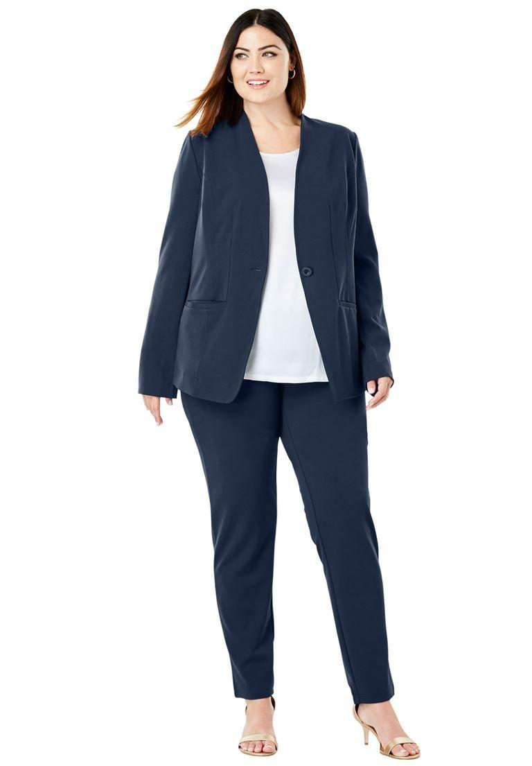 Jessica London Women's Plus Size Knit Crepe Pantsuit Navy,24 W