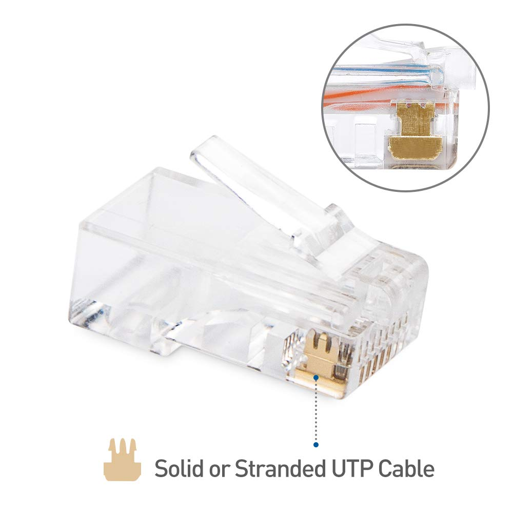 Cable Matters 100 Pack Cat 6 Cat6 Rj45 Modular Plugs Kabel Lan Belden 25 M Utp Cat5e Original Usa Meter For Stranded Computers Accessories