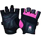 Meister Women's Fit Grip Weight Lifting Gloves w/Washable Amara Leather - Pink - Medium
