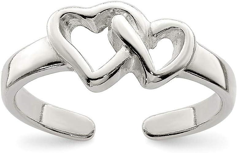 Plata Esterlina 925 ajustable anillo de dedo Plateado Plata Maciza corazón Anillo