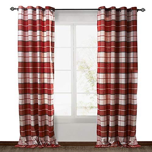 ChadMade Check Plaid Cotton Nickel Grommet Eyelet Blackout Lined Window Curtain Panel Drapes (1 Panel) Red 50Wx84L -