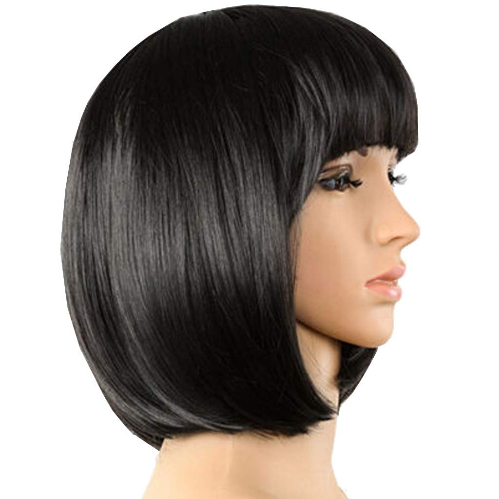 Short Bob Hair Wigs 14'' Straight Synthetic Hair Full Wigs for Women Cosplay Daily Party Wig Natural Looking Heat Resistant Hair Wigs, Tuscom (Black)