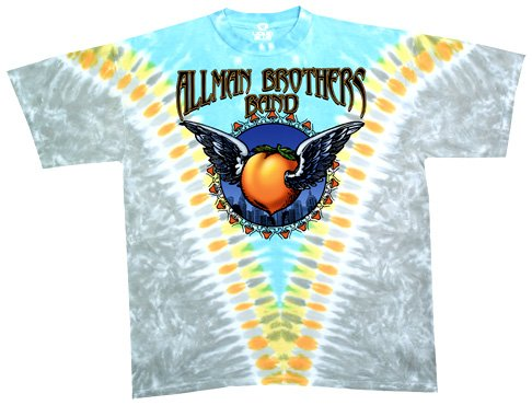 Allman Merchandise Brothers - Liquid Blue Men's Allman Bros Flying Peach Short Sleeve T-Shirt,Multi,Large