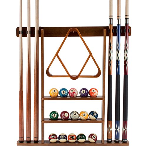 GSE Games & Sports Expert Solid Wood Billiard 6 Pool Cue Stick Hanging Wall Mounting Rack- (Oak Wall Mounting Rack)