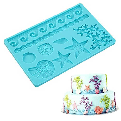 Fashionclubs Silicone Seashell Sea Life Chocolate/Fondant/Candy Baking Mold For Cake Decor