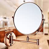 YAOHAOHAO Expandable makeup mirrors, bathroom rotary wall mirror. A- & foldable telescopic Mirrors Mirrors Gold Pink double strain hens the mirrors