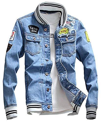 LifeHe Men Denim Jacket with Patches Light Blue 3XL (L, Light Blue) ()