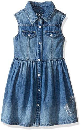 GUESS Little Girls' Sleeveless Snap Front Denim Dress, Stone, 6 -